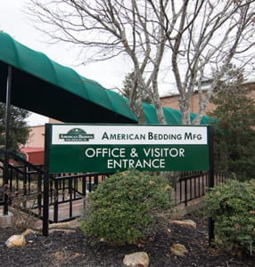Welcome Sign at American Bedding Manufacturers, Inc.