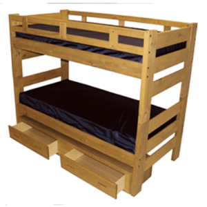 Wooden Bunk Bed with Ladder End